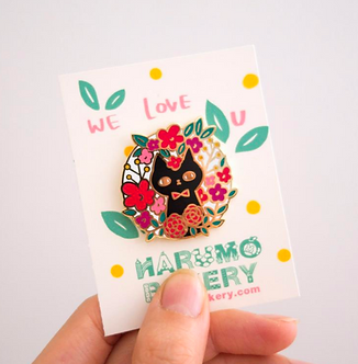 Flower Cat Enamel Pin by Harumo Bakery