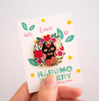 Flower Cat Enamel Pin by Harumo Bakery