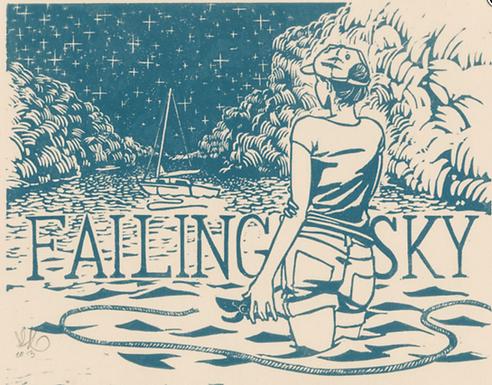 Failing Sky Linocut Print by Scout Tran