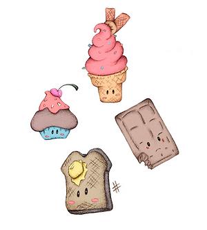 Sweet Treat Dessert Print by Ria Art