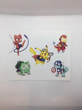 Pokemon Avengers Crossover Print by Ria Art