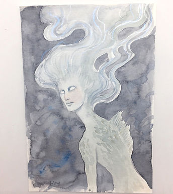 Ethereal Underwater Woman Original Watercolor by Emily Hare