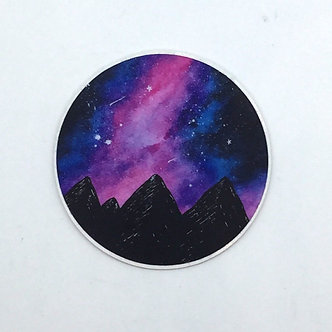 """Limitless in Color"" Galaxy Mountain Sticker by Jess Weymouth"
