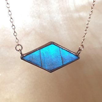 Iridescent Blue Morpho Diamond Necklace with Rose Gold Chain