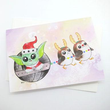 Holiday Baby Yoda Card by Aidan Monahan