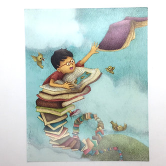 Fun Reading Journey #2 Print by Ria Art