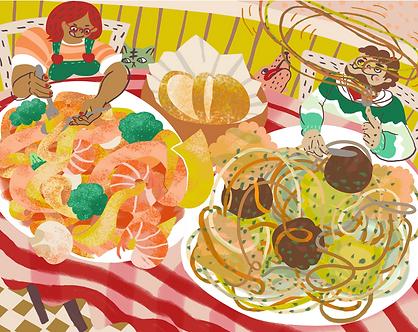 Pasta Date Print by Harumo Sato