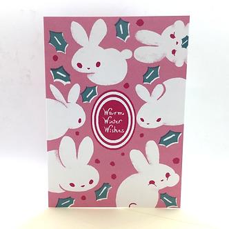 """Warm Winter Wishes"" Bunny Card by Harumo Bakery"