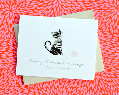 Happy Belated Birthday All Tied Up Card by Pennie Post