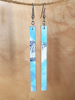 Large Blue and Silver Bar Drop Earrings by Chibi Jay Designs