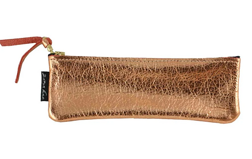 "The ""Metallic Dean"" Slim Leather Pencil Case by Zina Kao"