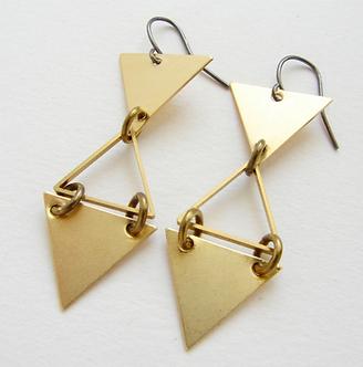 Geometric Triangle Drop Earrings by Sora Designs