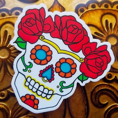 Calavera Rose Sticker by Citlali Rose
