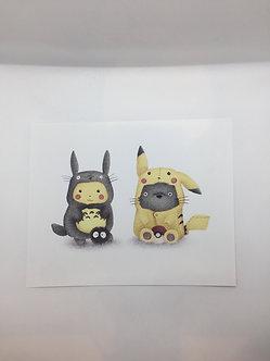 Totoro Pikachu Costume Swap Print by Ria Art