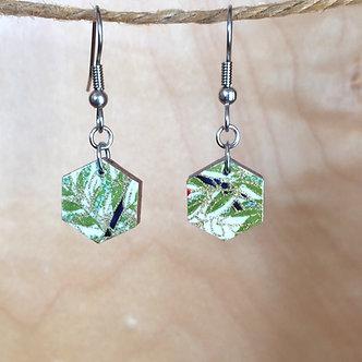 Small Hexagon Bamboo Drop Earrings by Chibi Jay Designs