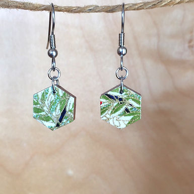 Small Hexagon Bamboo Drop Earrings by Chibi Jay Designs