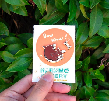 Bow Wow Dog Pin by Harumo Bakery