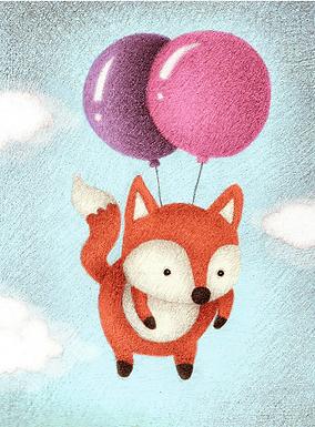 Fox Balloons Print by Ria Art