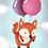 Thumbnail: Fox Balloons Print by Ria Art
