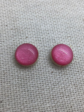 Pink Shimmer Resin Wood Earrings by Starlight Woods