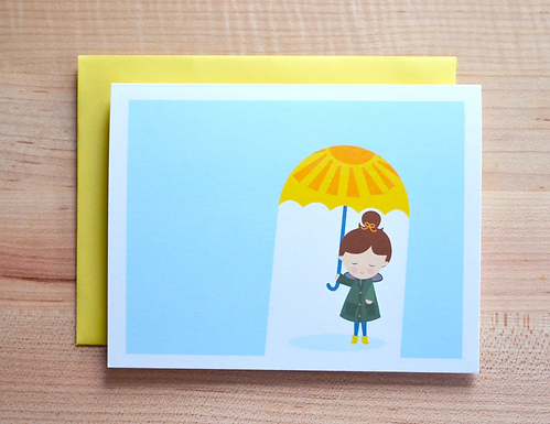 Rainy Day Girl Card by Pennie Post
