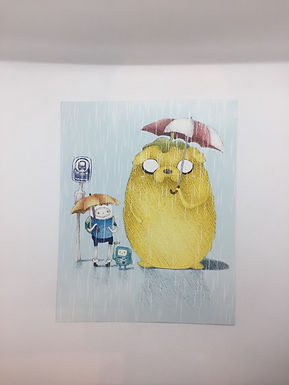 Adventure Time Totoro Bus Stop Print by Ria Art