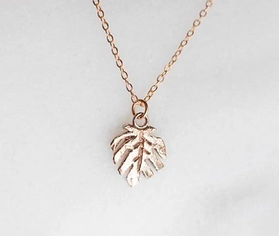 Monstera Leaf Charm Necklace by Dawning Collective