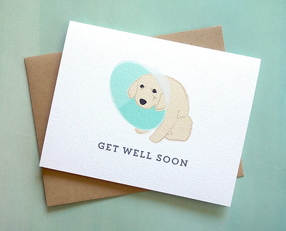 Get Well Soon Dog Cone of Shame Card by Pennie Post