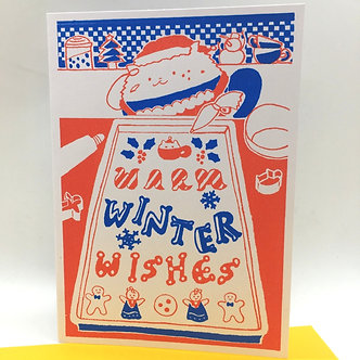 """""""Warm Winter Wishes"""" Hand-Printed Card by Harumo Bakery"""