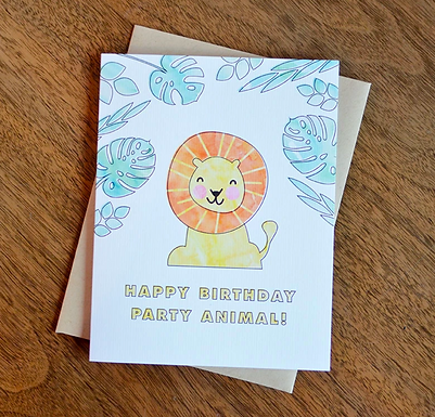 Happy Birthday Party Animal Lion Card by Pennie Post