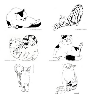 Set of 6 Kitties Signed Prints by Harumo Sato