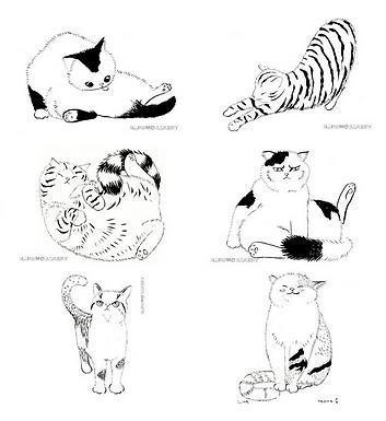 Set of 6 Kitties Signed Prints by Harumo Sato