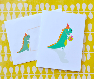 T-Rex Dino Birthday Present Card by Pennie Post