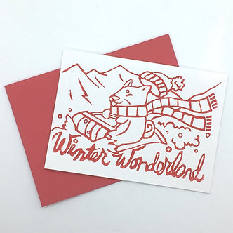 """Winter Wonderland"" Shiba Inu Dog Handmade Card by Jennifer Lay"