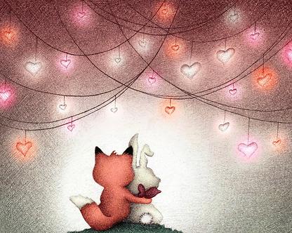 Fox Bunny Romantic Night Print by Ria Art