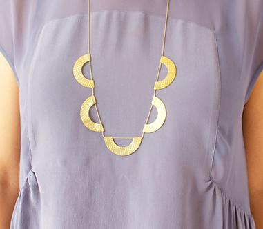 Vintage Textured Scallop Necklace by Sora Designs - 5 Scallop pieces