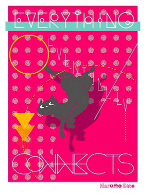 Everything Eventually Connects Cat Print by Harumo Bakery