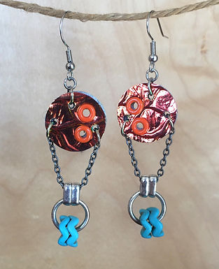 Orange Foil and Bead Earrings by Emily Brooks