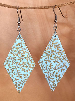 Large Light Blue and Gold Diamond Drop Earrings by Chibi Jay Designs