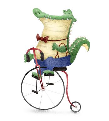 Dapper Crocodile Bicycle Print by Ria Art