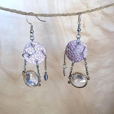 Light Purple Leather Metallic Earrings by Emily Brooks