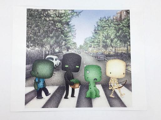 Minecraft Abbey Road Print by Ria Art