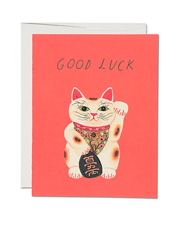 Good Luck Cat Card by Red Cap Cards