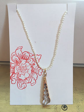 Gold Carved Shell and Pearl Necklace