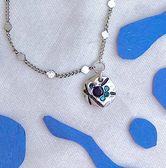 Five Blue Gem Pendant Necklace by Petite Sunflower Shop