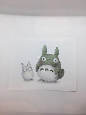 Totoro and Mini Print by Ria Art