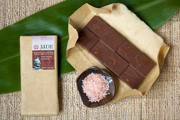 "41% ""Terracotta"" Almonds + Sea Salt Milk Chocolate Bar by Jade Chocolates"