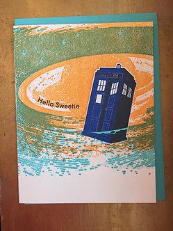 """""""Hello Sweetie"""" Tardis Letterpress Card by iLee Paper Goods"""