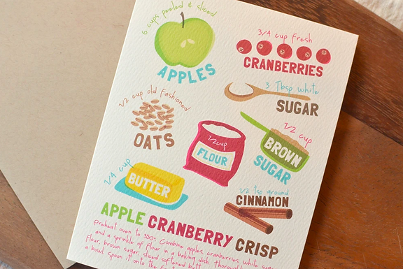 Set of 6 Apple Cranberry Crisp Cards by Pennie Post