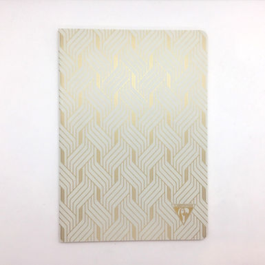 White and Gold Geometric Art Deco (A5 Lined) Notebook by Clairefontaine